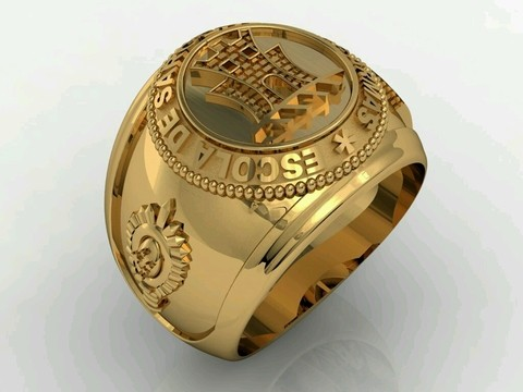 Communication Ring of the School of Weapons sergeants in silver with Ouro18k