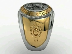 Engineering Ring of the School of Weapons sergeants in Ouro18k with silver -  Ginglass personalização de joias