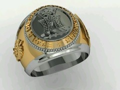 Engineering Ring of the School of Weapons sergeants in Ouro18k with silver - online store