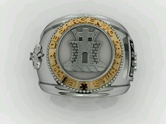 Engineering Ring of the School of Arms sergeants in silver in silver with 18k gold - buy online