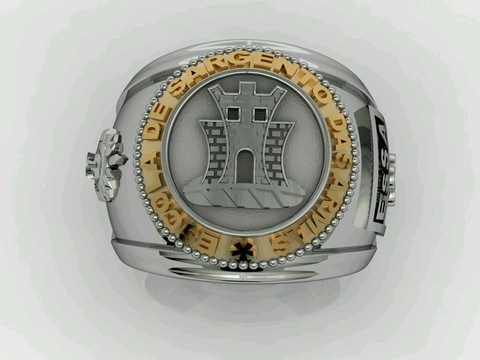 Engineering Ring of the School of Arms sergeants in silver in silver with 18k gold
