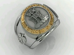 Engineering Ring of the School of Arms sergeants in silver in silver with 18k gold - online store