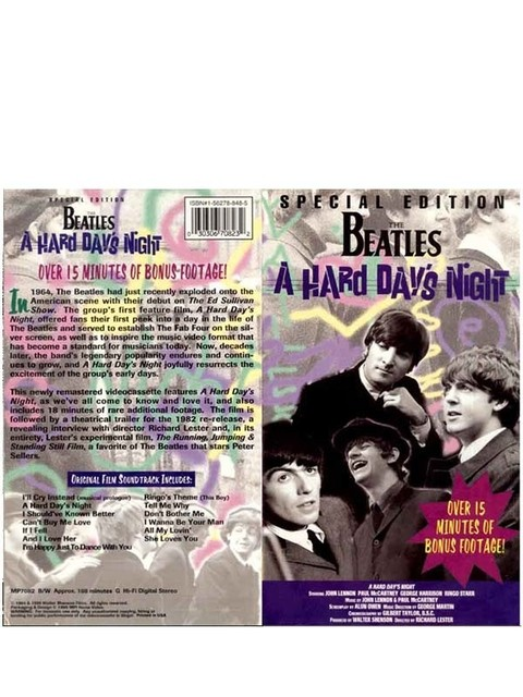 VHS THE BEATLES A HARD DAY NIGHT 1995 GRAV MPI HOME VIDEO USA