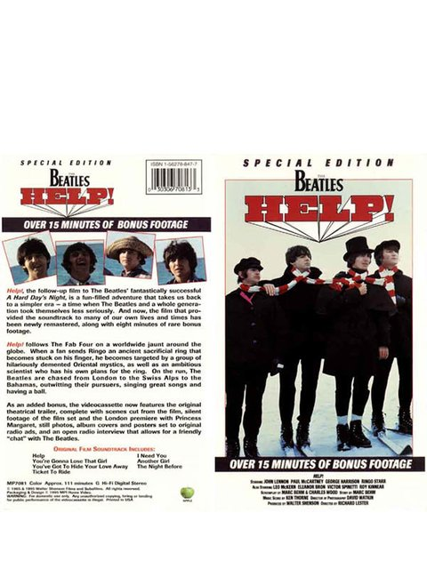 VHS THE BEATLES HELP! 1995 GRAV MPI HOME VIDEO USA