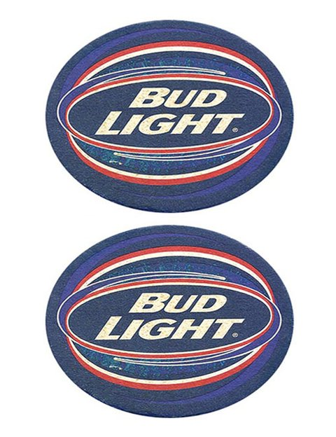 BOLACHA CERVEJA BUDWEISER LIGHT USA OVAL 10,5 X 9,5 CM