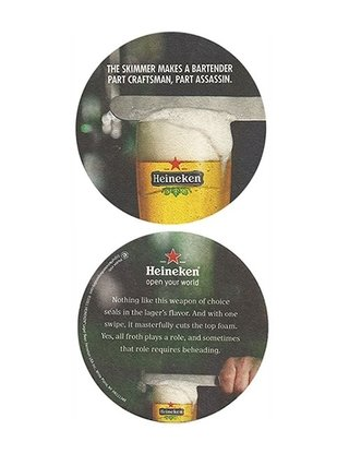 BOLACHA CERVEJA HEINEKEN THE SKIMMER MAKES A BARTENDER USA REDONDA 10,5 CM