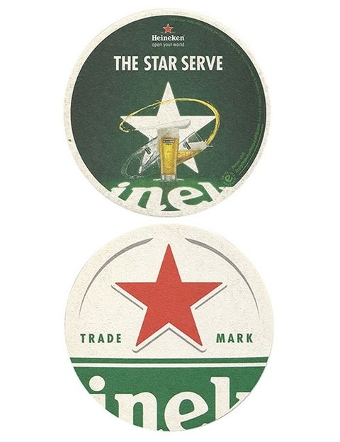 BOLACHA CERVEJA HEINEKEN THE STAR SERVE HOLLAND REDONDA 11 CM