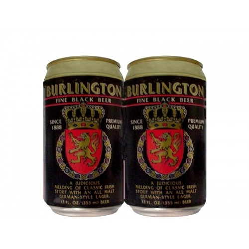 LATA BURLINGTON FINE BLACK BEER 355 ML ALUMÍNIO USA
