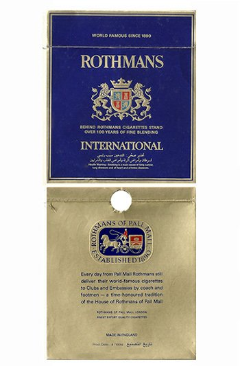 CARTEIRA ROTHMANS FINEST EXPORT ROTHMANS OF PALL MALL ENGLAND