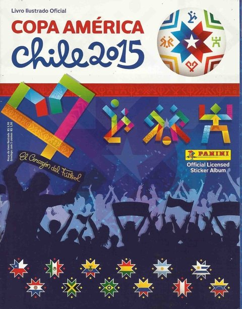 ÁLBUM COPA AMÉRICA CHILE 2015 NOVO CAPA NORMAL C/ 60 FIGURINHAS