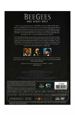 DVD BEE GEES ONE NIGHT ONLY 2001 ORIGINAL GRAV EAGLE ST2 VIDEO BRAZIL - comprar online