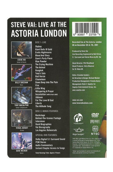 DVD STEVE VAI LIVE AT THE ASTORIA 2003 NTSC TIME 240 MIN ORIGINAL DUPLO GRAV FAVORED NATIONS USA - comprar online