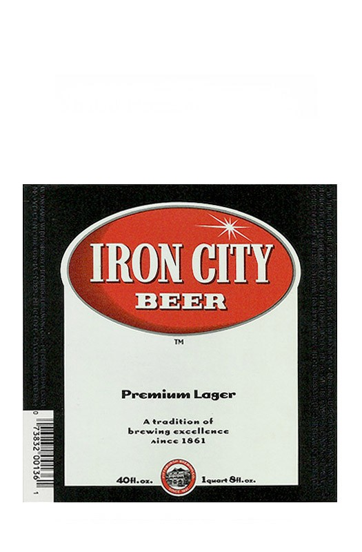 ROTULO IRON CITY PREMIUM LAGER 40 FL OZ USA