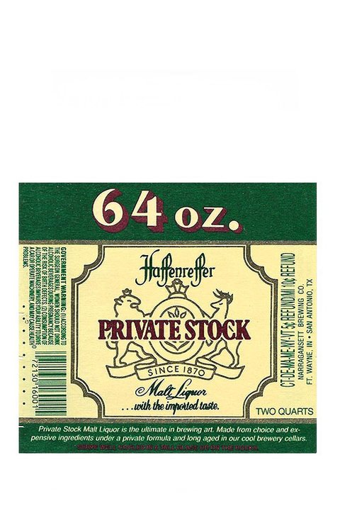 ROTULO PRIVATE STOCK MALT LIQUOR 64 OZ. USA