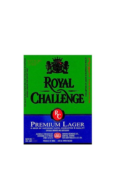 ROTULO ROYAL CHALLENGE PREMIUM LAGER 650 ML INDIA