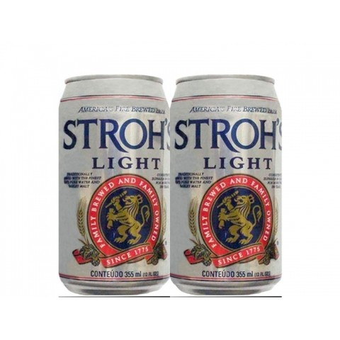 LATA STROH'S LIGHT 355 ML EXPORT ALUMINIO USA
