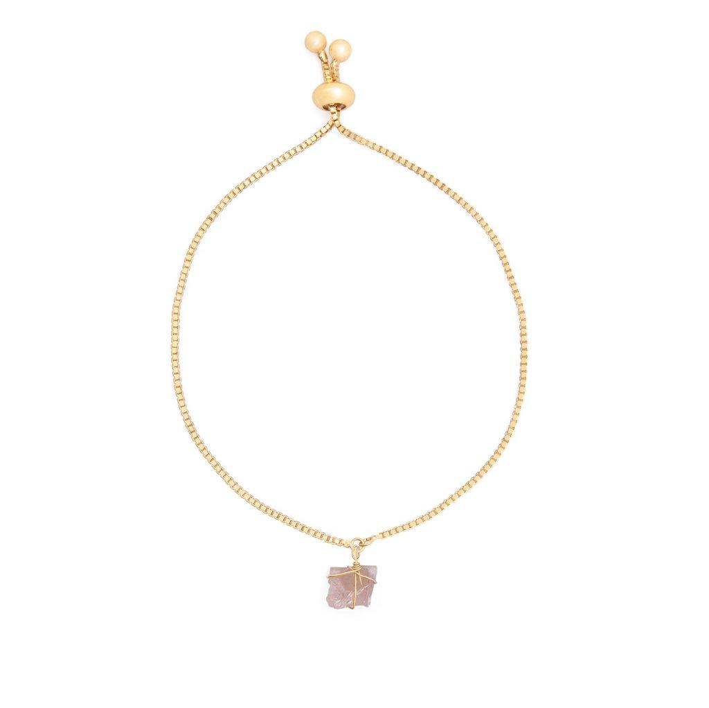 074f57d753c3 Pulsera cadena oro Cuarzo rosado - Comprar en WISH