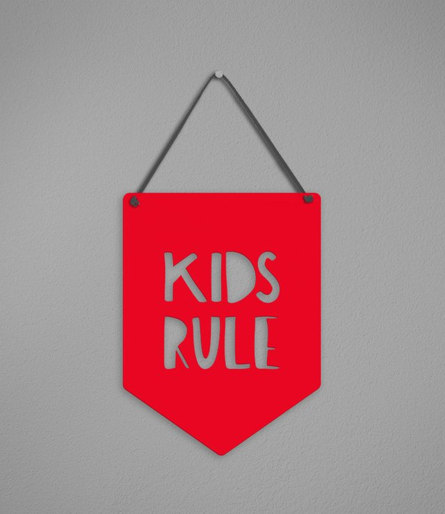 Plaquinha Kids Rule - [pendurama]