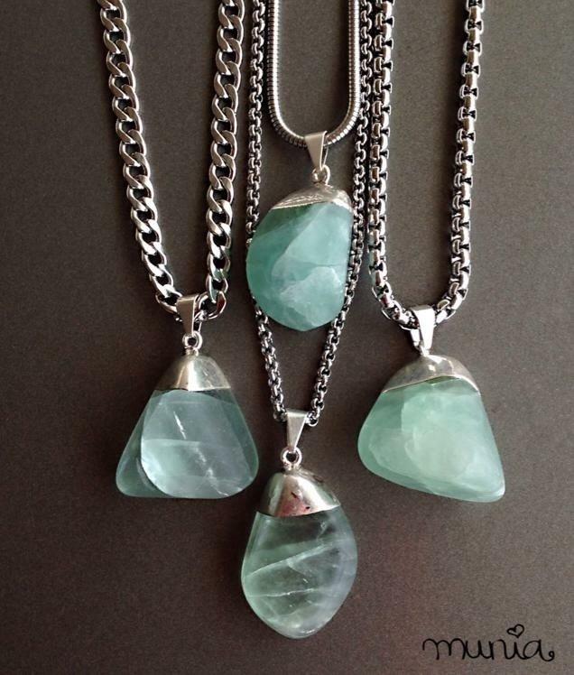 nueva colección gran descuento compra venta Collar Fluorita (acero quirúrgico)