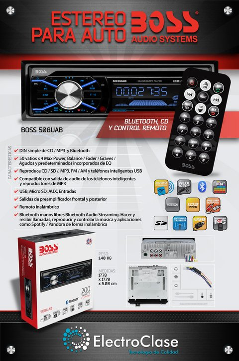 Estereo para auto Boss 508 UAB con CD/Bluetooth/Sd/Mp3/Am - Fm  y SmartPhones