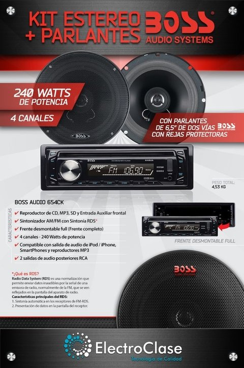 COMBO STEREO BOSS CD/USB/SD/MP3  - 240 W 4 CANALES PARLANTES 6,5