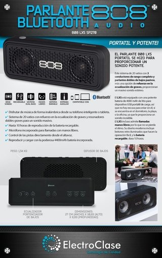 PARLANTE BLUETOOTH LXS 270 808 AUDIO -  20 WATTS DE POTENCIA + POWER BANK + LLAMADAS MANOS LIBRES - comprar online