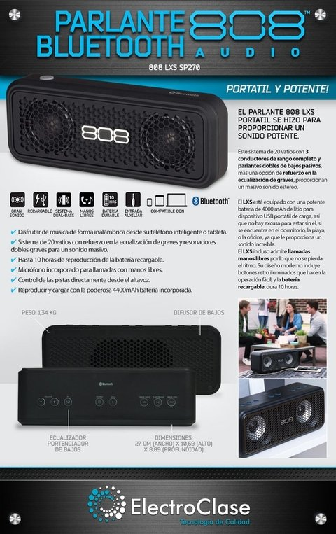 PARLANTE BLUETOOTH LXS 270 808 AUDIO -  20 WATTS DE POTENCIA + POWER BANK + LLAMADAS MANOS LIBRES