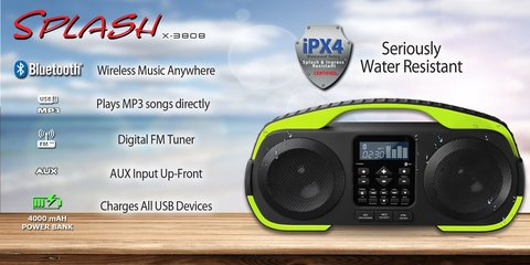 EQUIPO PORTATIL SDIGITAL SPLASH X-3808  CON BLUETOOTH Y RADIO FM