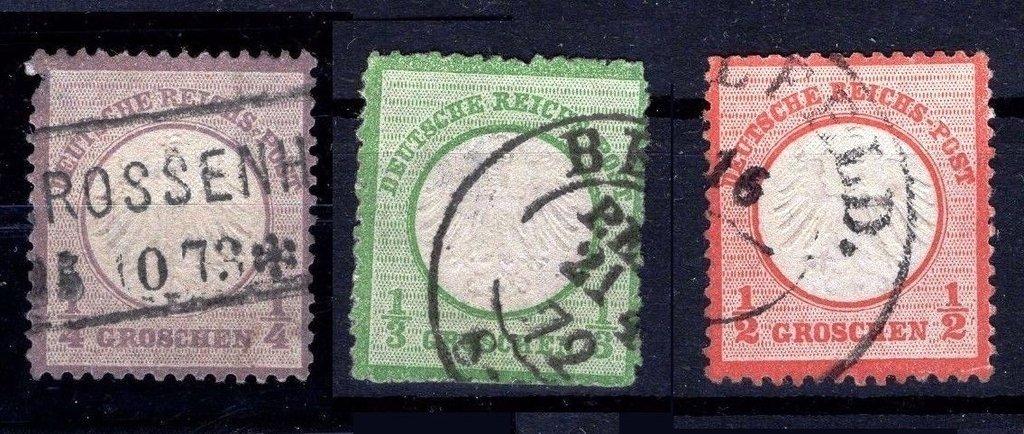 D. Reich 1872. Primeros sellos 1 a 3 circulados