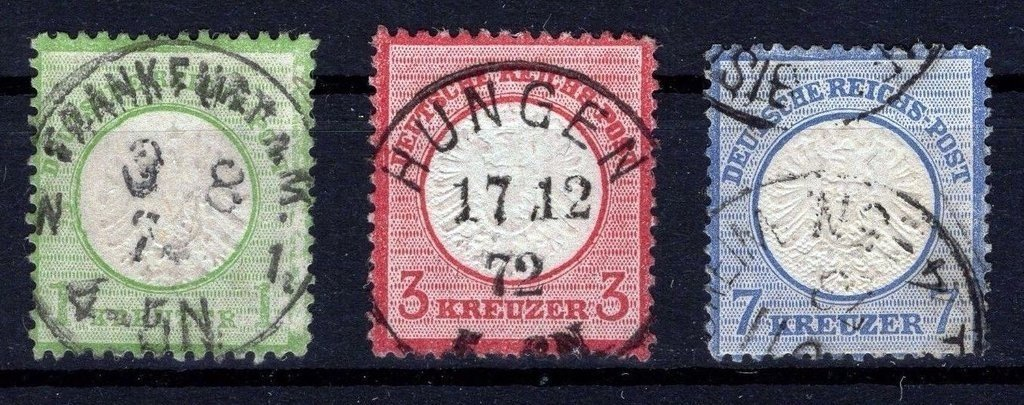 D. Reich 1872. Primeros sellos del imperio 23 a 26 circulados