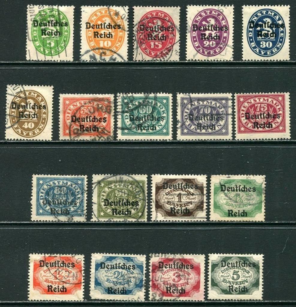 D. Reich 1920 Oficial. Sellos de Bayern c/sobrecarga. Serie completa circulados
