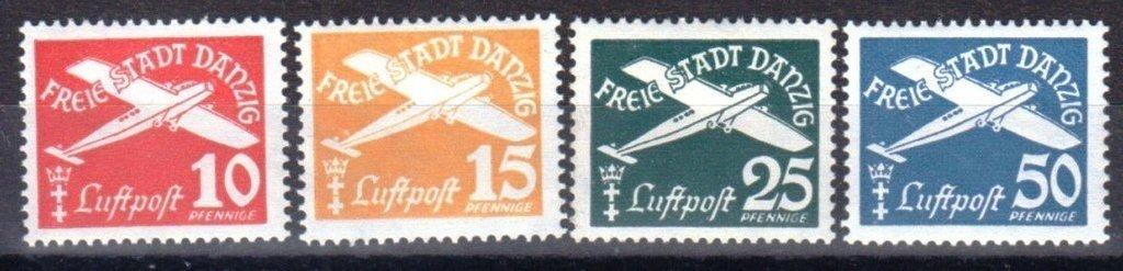 Danzig 1938. Flugpost. Serie completa MNH. Filig. Swastika