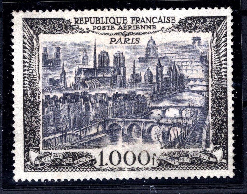 Francia aéreo 1929. Vista de Paris. Alto valor MNH