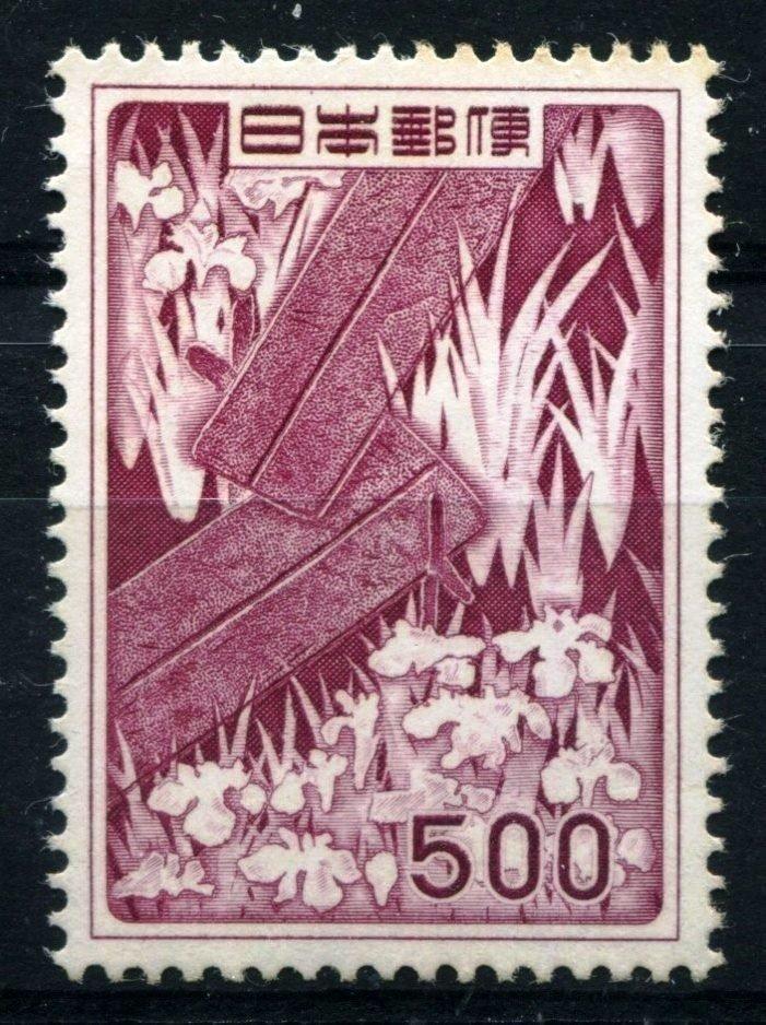 Japón 1955. Iris y puente del Parque Nacional Chichibu-Tama