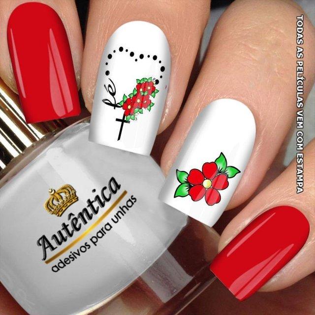 Adesivo De Unha Onca E Flor ~ Adesivo de Unha Fé com Flor Vermelha