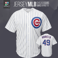 Camisa MLB Chicago Cubs Jake Arrieta Majestic Coll Base Jersey Draft Store
