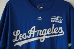 Camisa MLB Los Angeles Dodgers Clayton Kershaw Majestic World Series Patch Name & Number Draft Store