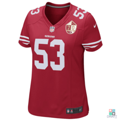 Camisa Feminina NFL San Francisco 49ers NaVorro Bowman Patch 70 anos Nike Game Jersey Draft Store