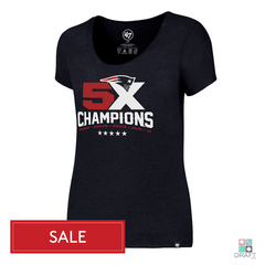 Camiseta Feminina 47 Brand NFL New England Patriots 5X Campeão do Super Bowl