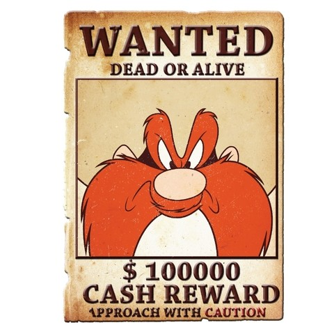 PLACA METÁLICA - YOSEMITE WANTED - LOONEY TUNES