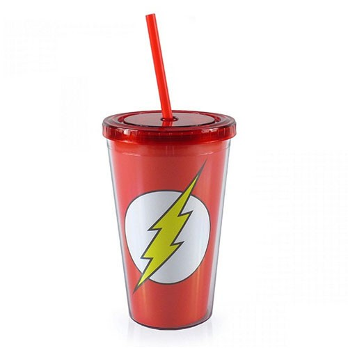 copo com canudo flash dc comics