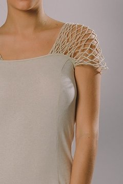 NET FISHING SLEEVE LONG DRESS - buy online