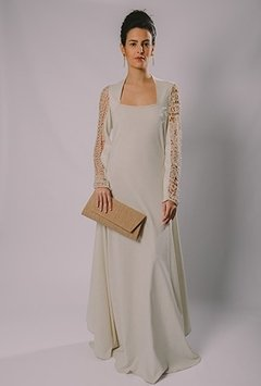 """FILET LACE SLEEVE LONG DRESS"