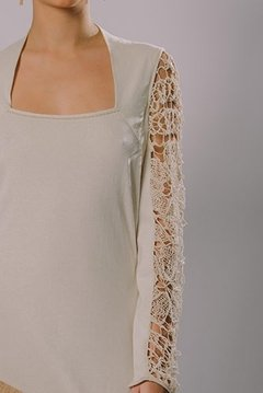 """FILET LACE SLEEVE LONG DRESS - buy online"