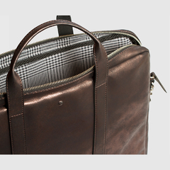 Document Briefcase Metallic Brown - Mooka