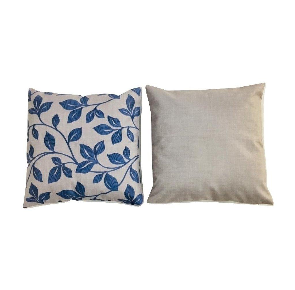 1d270f3d449830 Kit 2 Almofadas Floral azul com cinza 40x40