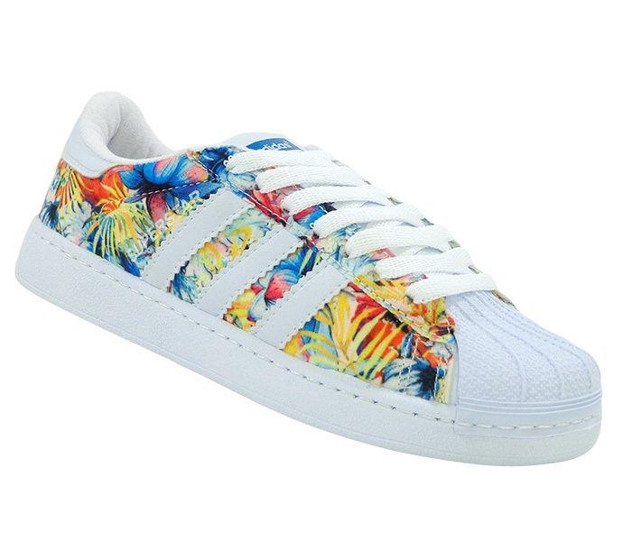 186563fd207 Tênis Feminino Adidas Superstar Branco e Floral Azul