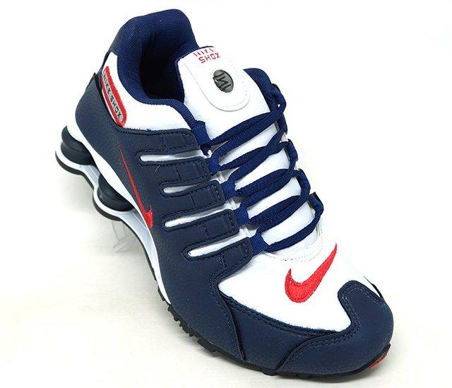 df0409f3346 Tênis Nike Shox NZ Azul Marinho e Vermelho