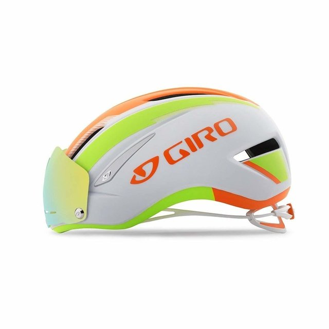 Giro Air Attack Shield Helmet - Matte White/Flame/Lime Medium
