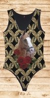Body Feminino Country Cavalo Flores Correntes